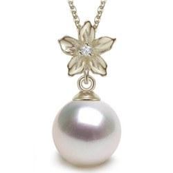 Pendentif Argent 925 Zirconium et Perle d'Akoya blanche AAA