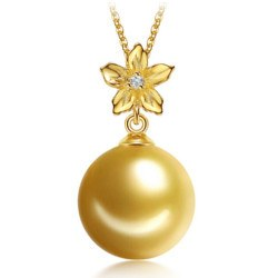 Pendentif Or 18 carats avec Perle dorée des Philippines AAA