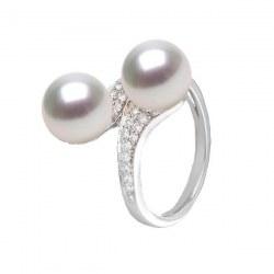 Bague Toi&Moi Or 18k et Diamants, deux perles d'eau douce DOUCEHADAMA