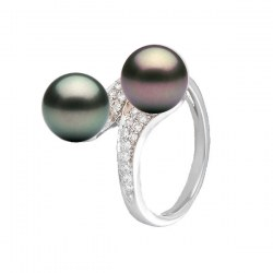 Bague Toi&Moi Or 18k et Diamants, perles noires de Tahiti AAA