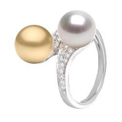 Bague Toi&Moi Or 18k Diamants perle dorée Philippine et perle blanche d'Australie 9-10 mm AAA