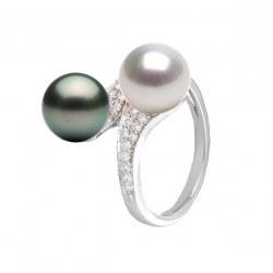 Bague Toi&Moi Or 18k Diamants perle blanche d'Australie et perle de Tahiti 9-10 mm AAA