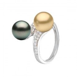 Bague Toi&Moi Or 18k Diamants perle dorée Philippine et perle de Tahiti 9-10 mm AAA