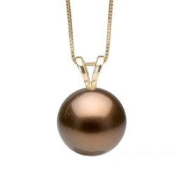 Pendentif V en Or Jaune ou Gris perle de culture de Tahiti Chocolat 10-11 mm qualité AAA