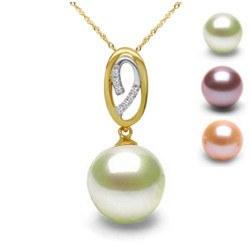 Pendentif Or 18k avec diamants et Perle de culture d'Eau Douce DOUCEHADAMA