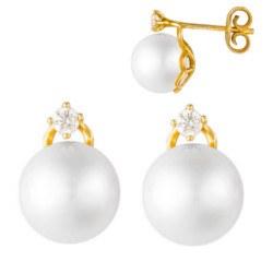Boucles d'Oreilles Or 18k diamants et perles de culture d'Akoya