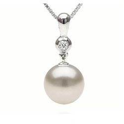Pendentif Or 14k diamant et perle d'Australie blanche argentée à partir de 9 à 10 mm