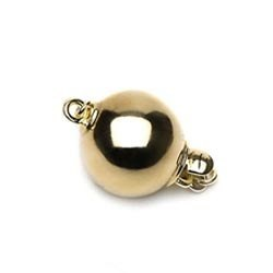 Fermoir boule Or Jaune 18 carats lisse de 8 mm