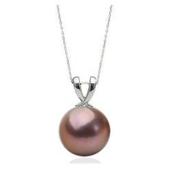 Pendentif Argent 925 et perle d'Eau Douce 11-12 mm EDISON