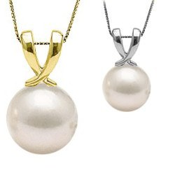 Pendentif Or 14 carats avec perle de culture d'Akoya blanche AAA