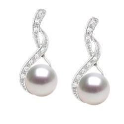 Boucles d'Oreilles Or 18k diamants et perles de culture d'Akoya 9-9,5 mm
