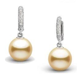 Boucles d'Oreilles en Argent 925 diamants et perles dorées des Philippines 9-10 mm AAA