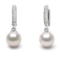 Boucles d'Oreilles Argent 925 Diamants Perles d'Akoya qualité AAA