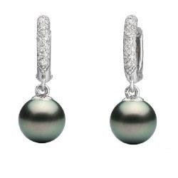 Boucles d'Oreilles Argent 925 Perles de Tahiti et diamants