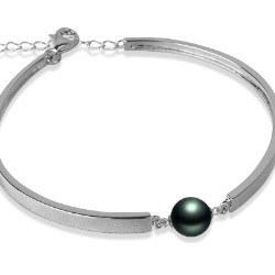 Bracelet en Argent 925 perle de culture de Tahiti AAA