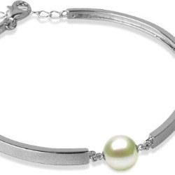Bracelet en Argent 925 et perle d'Akoya blanche AAA