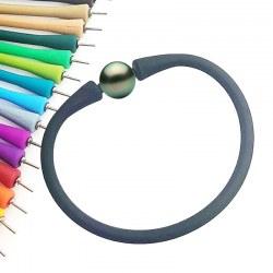 Bracelet en silicone avec perle de Tahiti, couleur aux choix