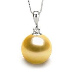 Pendentif Argent 925 et Perle dorée des Philippines AAA