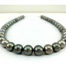 Collier 44 cm de perles de Tahiti rondes multicolores 10 à 12 mm qualité AA