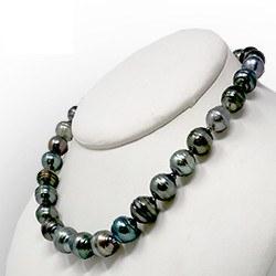 Collier de perles de Tahiti baroques et cerclées de 10 à 12 mm, 43/44 cm
