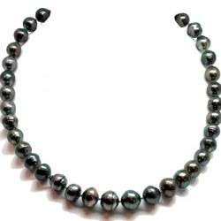 Collier 43 cm de perles Baroques de Tahiti, de 8-11 mm à 9-12 mm cerclées