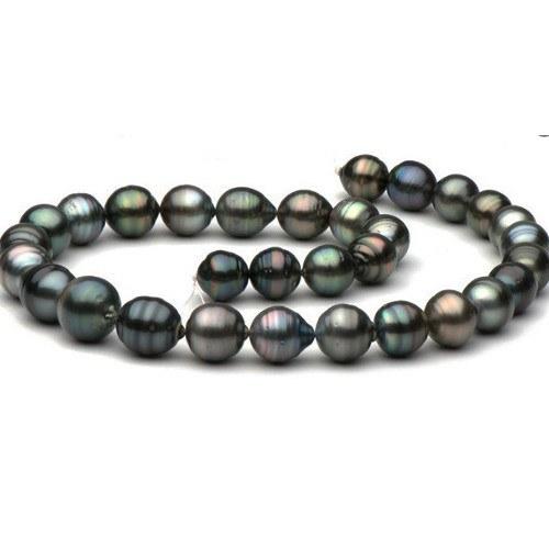 Collier 43 cm de perles Baroques de Tahiti, de 8-11 mm à 9-12 mm multicolores