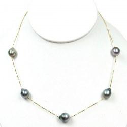 Collier de 5 perles de Tahiti Baroques 9-10 mm chaine corde or 14k