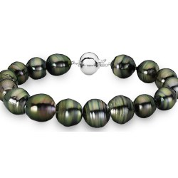 Bracelet 18 cm de perles baroques de Tahiti de 8 à 9,5 mm Or 14k