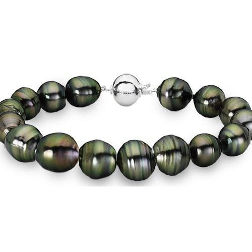Bracelet 18 cm perles baroques Tahiti de 8-9,5 mm fermoir rond Argent 925