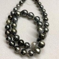 Collier 44 cm Perles Baroques de Tahiti cerclées, 8 à 11 mm multicolores