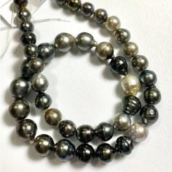 Collier 44 cm de perles Baroques de Tahiti, de 8-11 mm cerclées très lumineuses