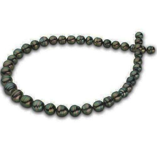 Collier 43 cm de perles Baroques de Tahiti, 9 à 10,8 mm cerclées