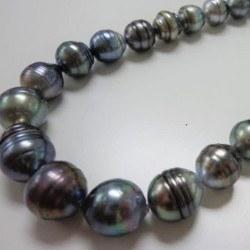 Collier 43 cm Perles Baroques de Tahiti cerclées, 11 à 15 mm