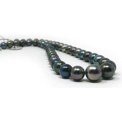 Collier de perles Semi Rondes de Tahiti 8,2 à 11,7 mm