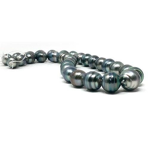 Collier 43/44 cm grosses perles de Tahiti Baroques cerclées 11 à 15 mm