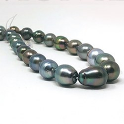 Collier de perles de Tahiti baroques de 8,0 à 10,9 mm longueur 43 à 44 cm