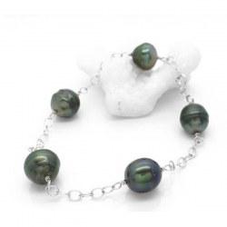 Bracelet 5 perles baroques de Tahiti 8-9 mm sur chaine 18 cm Or gris 14k