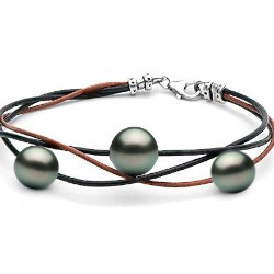 Bracelet Cuir perles de culture de Tahiti 2x8-9 mm et 1x10-11 mm Argent 925