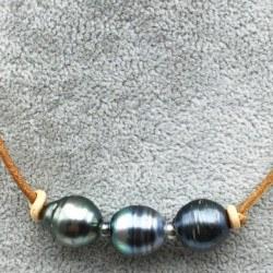 Collier ou bracelet de cuir et 3+1 perles de Tahiti Baroques 11-12 mm