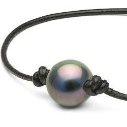 Bracelet ou collier en cuir avec perle de Tahiti entre 2 noeuds avec noeuds coulissants