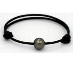 Collier/Bracelet avec une perle de Tahiti sur cuir aux noeuds coulissants