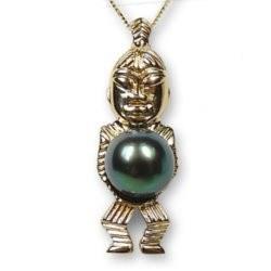 Pendentif Tiki en Or 18k avec perle de culture de Tahiti 8-9 mm
