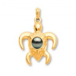 Pendentif Tortue Or 18 carats et perle de Tahiti 8-9 mm qualité AA+ ou AAA