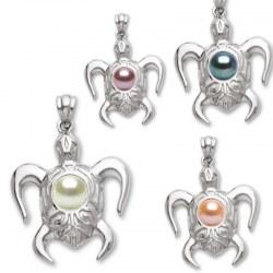 Pendentif Tortue Argent 925 avec perle d'Eau Douce de qualité AAA
