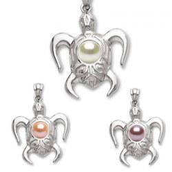 Pendentif Tortue Argent 925 avec perle d'Eau Douce de qualité DOUCEHADAMA