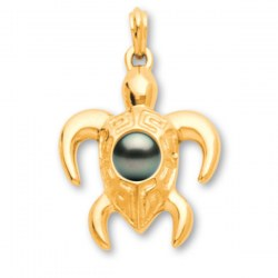 Pendentif Tortue Or 18 carats avec perle de Tahiti qualité AA+ ou AAA