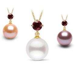Pendentif en Or 18k tourmaline rouge et perle d'Eau Douce DOUCEHADAMA