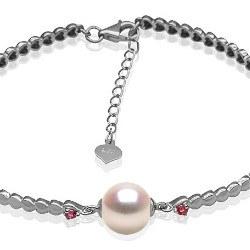 Bracelet en Argent 925 tourmalines rouges perle d'Eau Douce 8-9 mm DOUCEHADAMA
