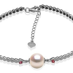 Bracelet en Argent 925 tourmalines rouges perle d'Akoya 8,5-9 mm AA+ ou AAA