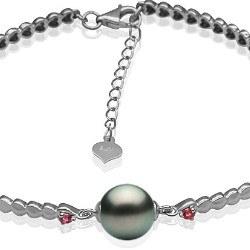 Bracelet en Or 9k tourmalines rouges et perle de Tahiti 8-9 mm AAA